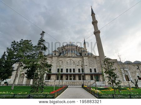 Istanbul, Turkey - April 21, 2017: Exterior low angle shot of Fatih Mosque before dusk. An Ottoman imperial mosque located Fatih district Istanbul Turkey