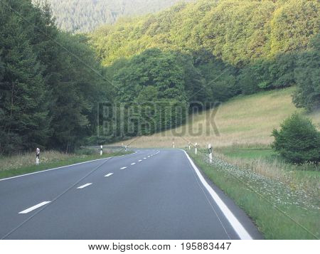 A road in nature  with clear sky It is a wonderful weather