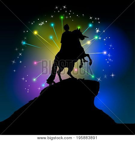 Monument of Peter the first Saint-Petersburg, Russia. Decorative illustration of bronze horseman on fireworks background.