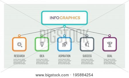 Business hierarchy infographic. Organization chart with 5 options. Vector template.