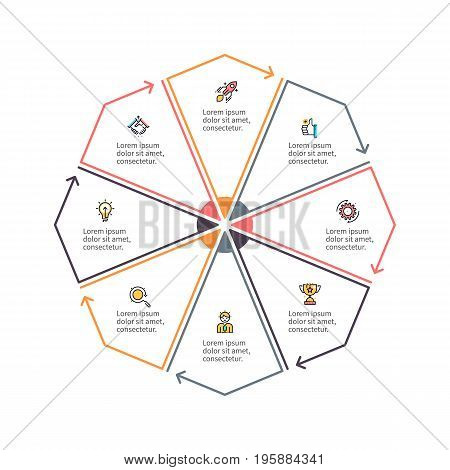 Outline octagon with 8 parts, sections for infographics.