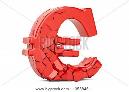 Broken Euro Symbol 3D rendering isolated on white background