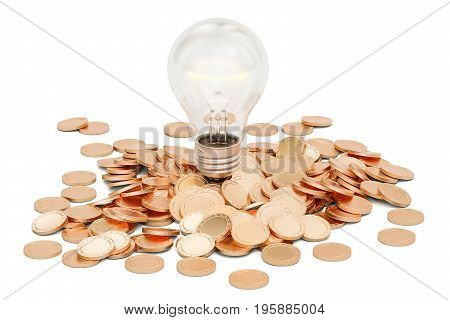 Lightbulb with heap of golden coins 3D rendering isolated on white background