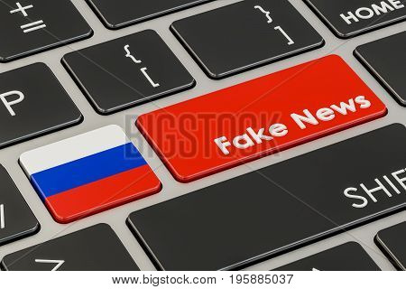 Russian fake news button key on keyboard. 3D rendering