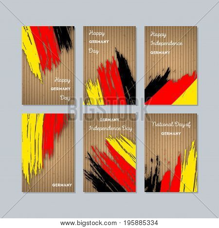 Germany Patriotic Cards For National Day. Expressive Brush Stroke In National Flag Colors On Kraft P