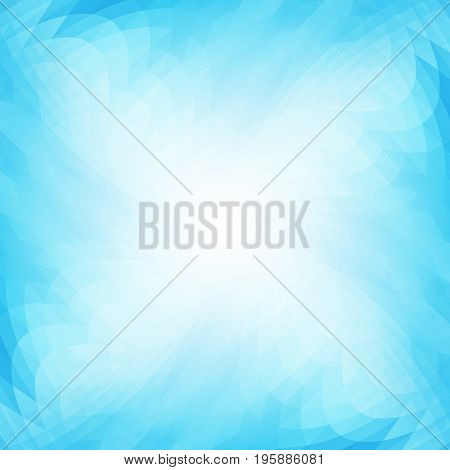 Abstract background in shades of blue. Translucent geometric texture. Wavy form.
