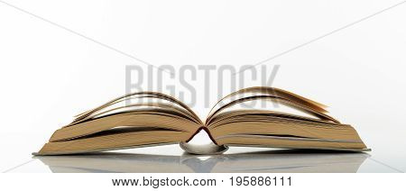 Vintage Book Open On White Background