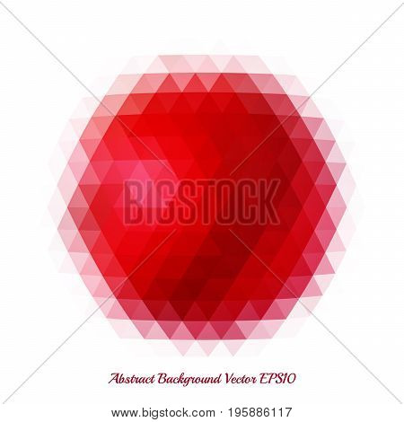 Abstract background with a bright red spot of geometric shapes. Pattern of triangles.