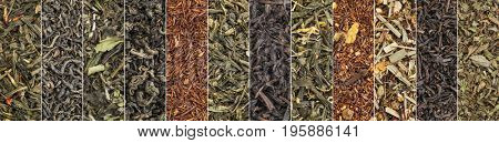 variety of black, green, white, red and herbal tea - a collage of macro background shots of loose leaves