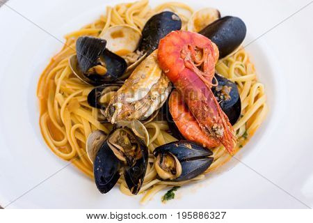 Pasta with seafood Dinner Dish on a the table