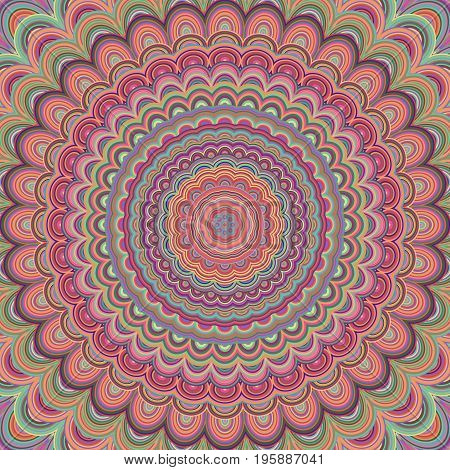 Psychedelic mandala ornament background - circular symmetrical vector pattern design from concentric oval shapes