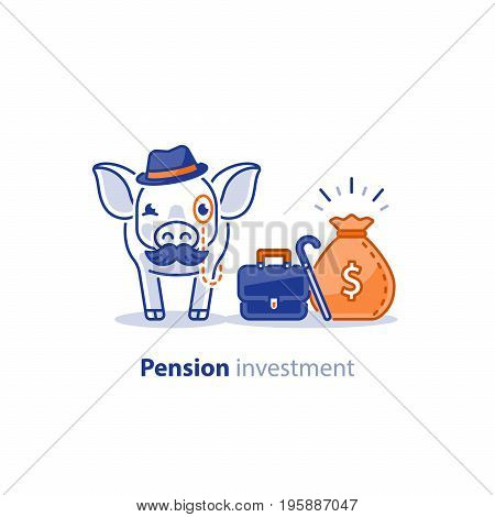 Wise old pig with mustache and hat, financial investment vector illustration, time is money, pension savings, superannuation fund