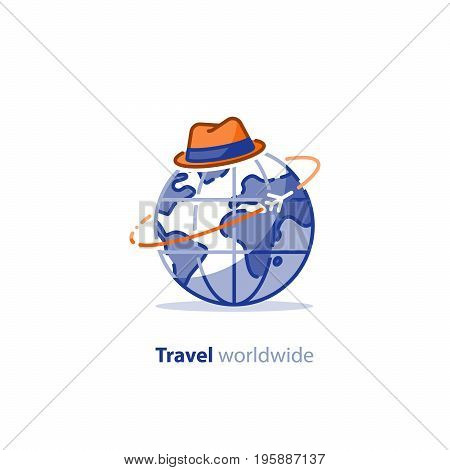 Travelling around the world, blue earth globe and hat, tourism services, tour package, flight planning, vacation destination vector illustration