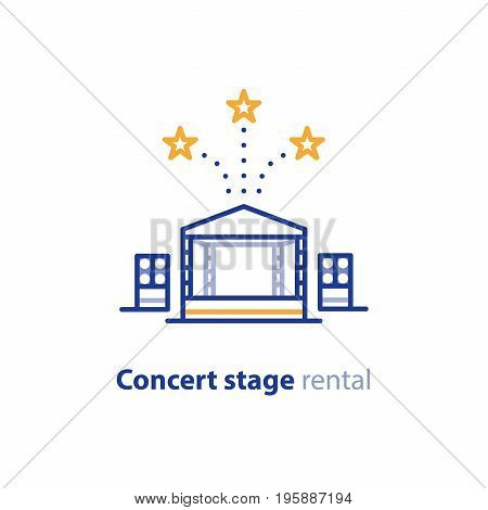 Concert stage rental services, mobile podium, entertainment show, music festival organization, vector line icon
