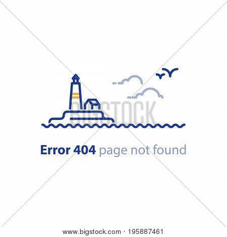 Error 404 page not found concept illustration, webpage banner, search result message, lighthouse at sea, vector line design