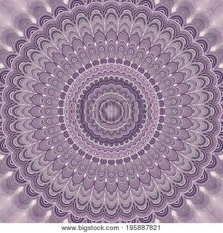 Light purple abstract bohemian mandala fractal background - round symmetrical vector pattern design from concentric oval shapes