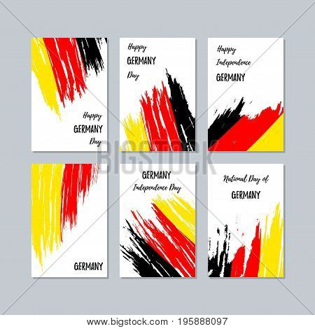 Germany Patriotic Cards For National Day. Expressive Brush Stroke In National Flag Colors On White C