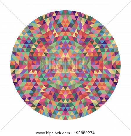 Round geometric triangle mandala design - symmetric vector pattern graphic art from colored triangles