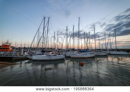 Sunset at Yarmouth harbour on the Isle of Wight