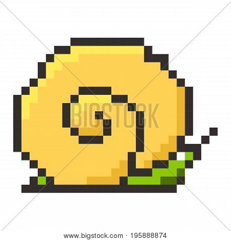 Snail pixel cartoon retro game style set