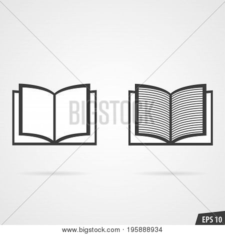 Two books icon isolated on gray background with shadow