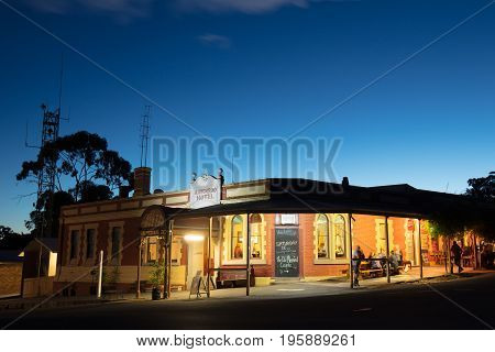 MALDON, AUSTRALIA - February 19 2017: Historic Victorian architecture at dusk in the old gold mining town of Maldon, Victoria, Australia