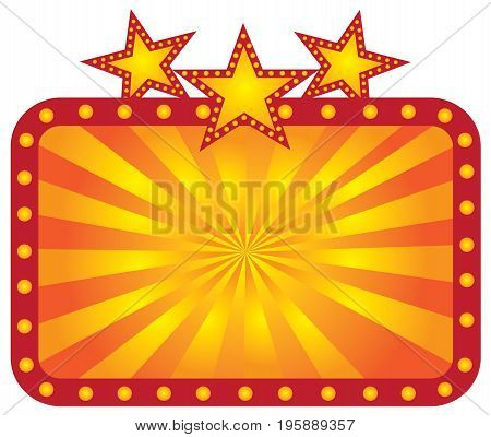 Retro Marquee theater sign with lights stars sunrays vector Illustration