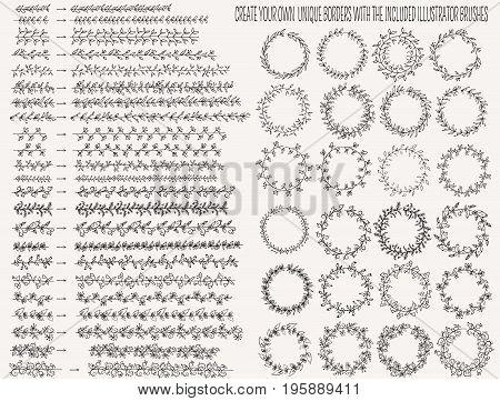 Vector Illustration Hand Drown Floral Line Border Set