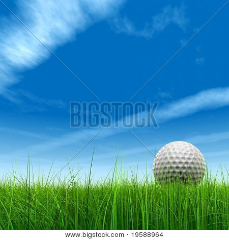High resolution green grass with a conceptual golf ball over a blue sky background