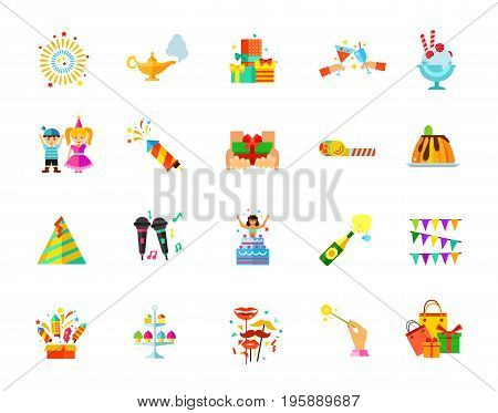 Party icon set. Firework Aladdin lamp Presents Toast Dessert Costume Slapstick Gift Horn blower Pudding Party hat Karaoke Surprise Champagne Garland Firework box Cake stand Shooting mask Wand Shopping