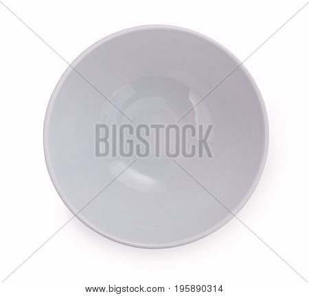 Empty Porcelain Bowl, Gentle Light Violet Tone, Isolated On White Background, Close Up, Top View.