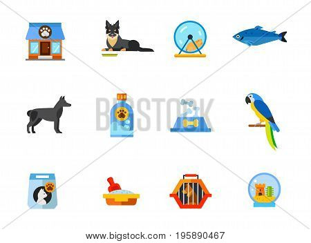 Pet shop icon set. Store building Bohemian sherherd Hamster in wheel Salmon Dog Pet shampoo Food bowl Macaw Cat food bag Cat litter box Pet travel crate Fishbowl aquarium with castle