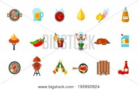 Picnic party icon set. Fish Beer Chilli sauce Oil drop Marshmallow Mustard Sausage Jalapeno pepper Cold drink Man grilling Lechon Mayonnaise Steak Oven barbecue Fried meat Toast Picnic table Ketchup