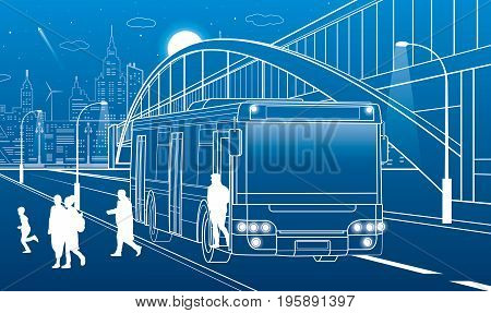 Pedestrian arch bridge. People get off the bus. City infrastructure, modern town in background. People walking. White lines, night scene, vector design art
