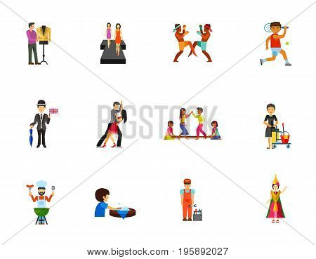 Professional occupation icon set. Fashion Designer Fashion model Thai boxing Tennis player Englishman Danson dancers Tinkling dancing Cleaning service worker Chef Washing table Plumber Thai dancer