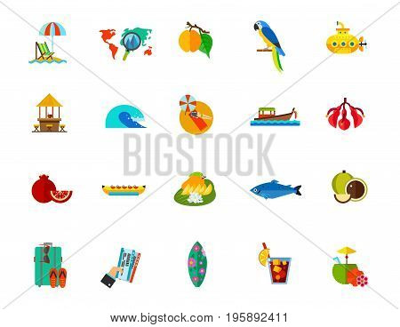 Resort icon set. Beach Destination Apricot Macaw Submarine Beach bar Sea wave Sunbathing Boat Ceibo Pomegranate Banana boat Thai dessert SalmonMacadamiaSuitcase Tickets Surfboard Cuba libre Coconut