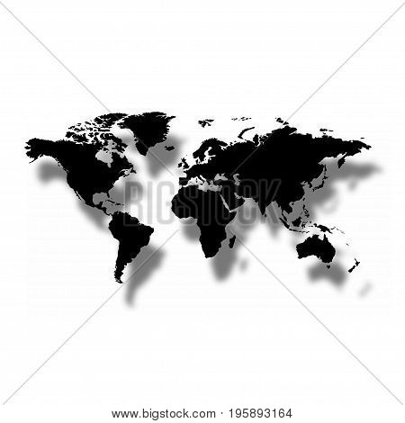 Black map of the world with shadow on a white background