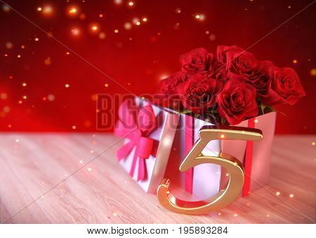 birthday concept with red roses in gift on wooden desk. 3D render - fifth birthday. 5th