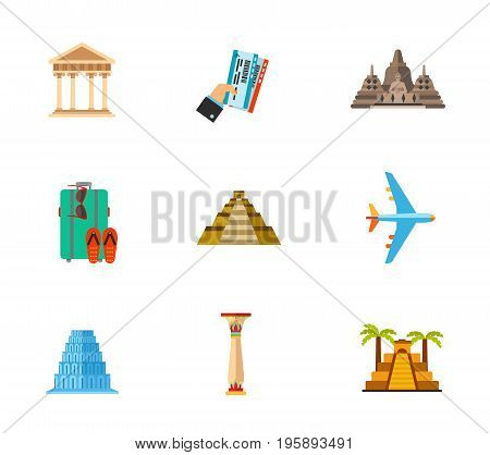 Travelling for sightseeing icon set. Greek architecture Holding tickets Borobudur Suitcase Mayan temple pyramid of Kukulkan Air travel Babel Column in Samarian style Aztec pyramid poster