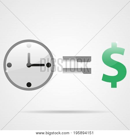 Shiny clock equals money. Time is money. Popular phrases businessmen