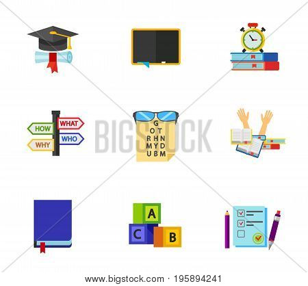 English exam icon set. Black student hat Blackboard Preparation for exam Questions Student stress English book Alphabet Examination paper. Contains bonus icon of eye test
