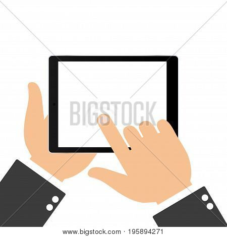 Hand touching blank screen of tablet. Using digital tablet flat design concept. Touching the screen with your finger