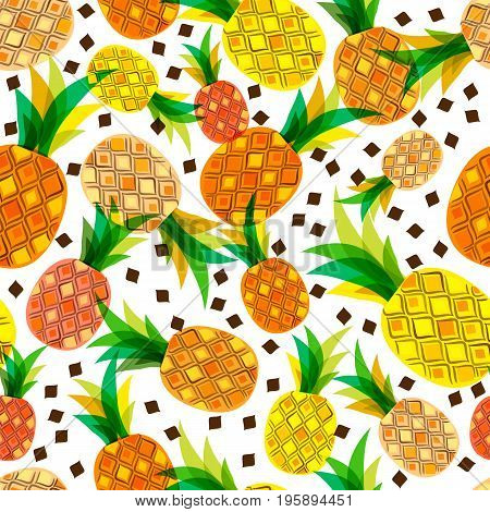 Vector Seamless Pattern With Fresh Pineapples Isolated On White Background. Hand Drawn Doodle Illust