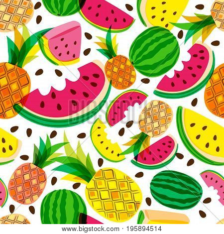 Vector Seamless Pattern With Fresh Red And Yellow Watermelon And Pineapples Isolated On White Backgr