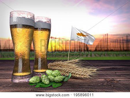 concept of beer consumption in Cyprus - 3D render