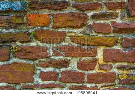 Old red brick and stone wall cement texture New Hope PA