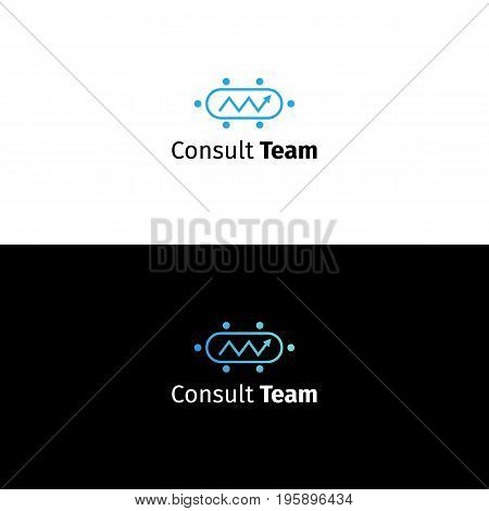 Consulting business logo. Data analytics and team management company sign