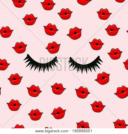 Female lips. Mouth with a kiss, smile, tongue, teeth and kiss me lettering on background. Vector comic seamless pattern in pop art retro style.