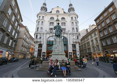 Vienna Austria - may 27 2017 - City lanscape with Johannes Gutenberg memorial. Vienna Austria