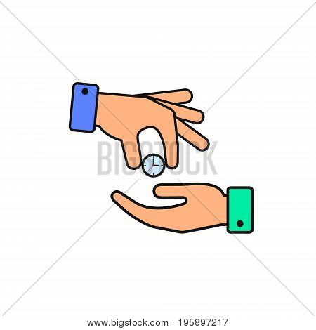 Hand giving the clock color icon. Vector isolated illustration.
